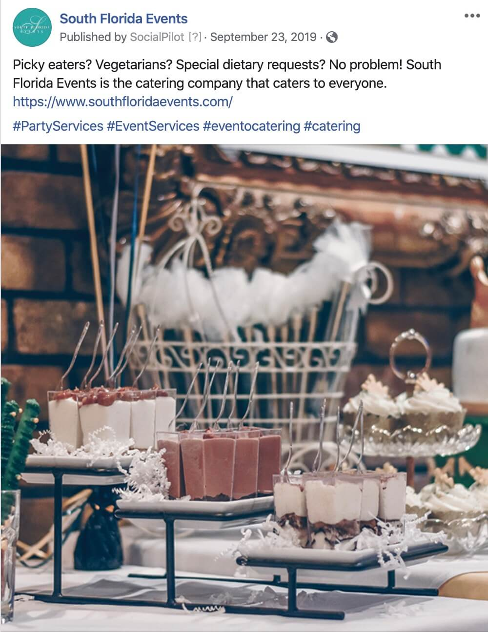 Event Catering and Corporate Catering Social Media Postings